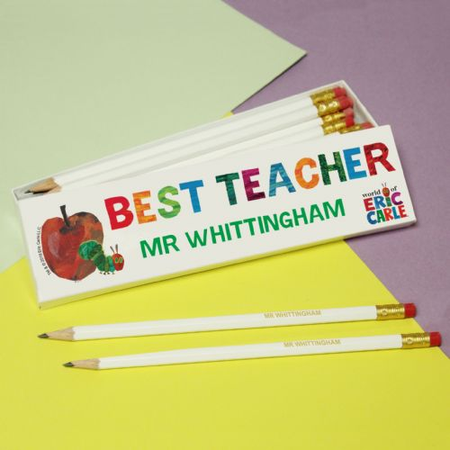 Very Hungry Caterpillar Best Teacher 12 White Pencils in White Box